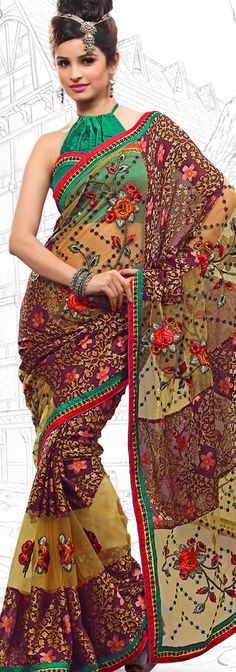 $64.46 Apricot Brasso and Net Latest Fashion Saree 16715 With Unstitched Blouse