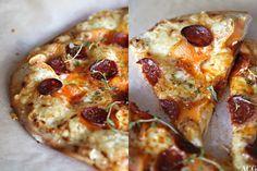 Hvit pizza med chorizo og søtpotet /white pizza with chorizo and sweet potato