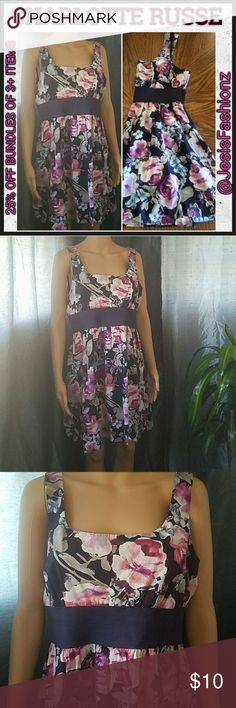 CHARLOTTE RUSSE SPRING FLOWER PRINT DRESS ~GREAT EASTER/SPRING DRESS~ Size XL Navy Blue Lined Spring Dress w/ Flower Print in shades of purple, pink & blue.  Item#EUC72 *ALL JEWELRY IS NWT/NWOT/UNUSED VINTAGE* 25% OFF BUNDLES OF 3 OR MORE ITEMS! *ALL REASONABLE OFFERS ACCEPTED* BUY WITH CONFIDENCE~TOP 10% SELLER, FAST SHIPPING, 5 STAR RATING, & FREE GIFT(S) w/MOST ORDERS! Charlotte Russe Dresses Midi