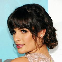 Lea Michele bangs and bun
