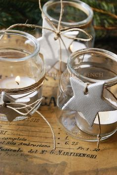 Baby jars repurposed as tealight candle holders