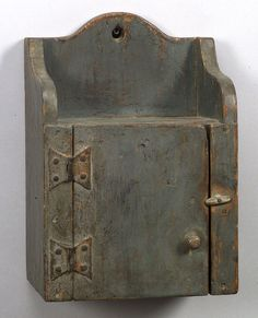 Look at the fantastic hinges on this small blue-gray Painted Hanging Pine Cupboard, New England origin.
