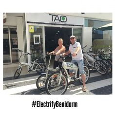 This couple from #Derby had enjoyed Benidorm on our #ElectricBikes. Love our #customers. Thanks for comming! See you soon #ElectrifyBenidorm #TaoBike
