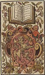 'The Ace of Books', coloured woodcut from Jost Amman's 'Charta lusoria...