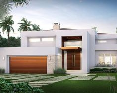 Contemporary Hollywood Waterfront Exterior Design Wooden Garage And Entry Door Green Lawn with Concrete Pathway