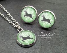 Schmuckset silber ❅ Rentier grün ❅ von Stardust Accessoires auf DaWanda.com