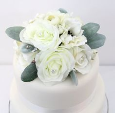 The 186 best it tops the cake silk floral wedding cake toppers and wedding cake topper white rose anemone lambs ear silk flower cake topper by ittopsthecake junglespirit Image collections
