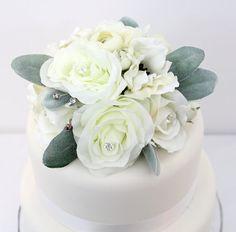 38 best cake topper images on pinterest cake topper wedding wedding cake topper white rose anemone lambs ear silk flower cake topper by ittopsthecake mightylinksfo