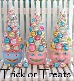 Pink & Aqua Halloween bottle brush trees sweet and spooky