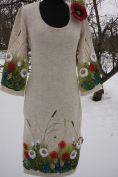 Fairytale gift Clothing gift Tight dress Special need mom Dress embroidered knitted dress linen yarn natural materials - FABRIC PAINTING Hand Painted Dress, Painted Clothes, Prom Dress Shopping, Online Dress Shopping, Linen Dresses, Tight Dresses, Prom Dresses, Special Needs Mom, Embroidery Suits Design