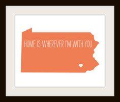 Pennsylvania  typography map art print  customizable by MursBlanc, $20.00