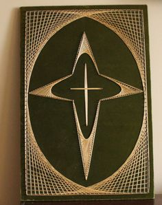 Vintage 70's String Art Picture of Cross  by campeauscollectables