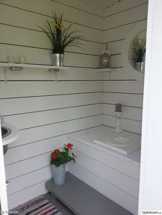 Our outhouse from the late needed renovation so we tore out all the old interior Outdoor Bathrooms, Garage Guest House, Outdoor Solutions, Cottage Decor, Floating House, Backyard Bar, Tiny House Cabin, Outhouse Bathroom, Cottage Interiors