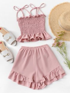 Frill Trim Pleated Cami Top With Shorts -SheIn(Sheinside) Cute Girl Outfits, Cute Summer Outfits, Cute Casual Outfits, Simple Outfits, Pretty Outfits, Girls Fashion Clothes, Teen Fashion Outfits, Mode Outfits, Girl Fashion