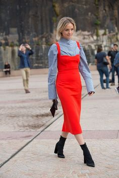 Nadia Fairfax Wearing Bright Red Dress Over A Checked Button Up On The Streets Of Fashion Week Australia