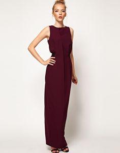 A Wear Cut Out Back Maxi Dress  Burgundy / wine sheath jersey maxi dress