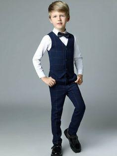 Polka dots Plaids Turn-down Collar Long Sleeves Shirt+Vest+Pant+Bowknot Tie Sets