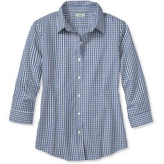 L.L.Bean Wrinkle-Free Pinpoint Oxford Shirt, Three-Quarter-Sleeve... (669.480 IDR) ❤ liked on Polyvore featuring tops, plus size shirts, women's plus size shirts, blue gingham shirt, pinpoint oxford shirt and plus size tops