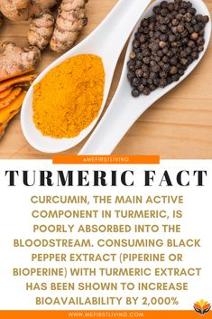 TURMERIC FACT: While Turmeric has numerous beneficial properties, it is actually really difficult for our bodies to absorb. Studies have found that black pepper extract has the ability to increase the bioavailability of turmeric extract (curcumin) by Curcumin Benefits, Turmeric Health Benefits, Turmeric Curcumin, Natural Apple Cider Vinegar, Apple Cider Vinegar Remedies, Pepper Benefits, Turmeric Supplement, Turmeric Extract, Food Preparation