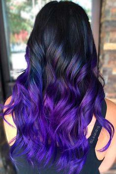 Ways to Wear Violet Hair Black To Purple Ombre Hair.Black To Purple Ombre Hair. Bold Hair Color, Hair Dye Colors, Ombre Hair Color, Bright Hair, Ombre Bob, Pelo Color Morado, Summer Hairstyles, Cool Hairstyles, Formal Hairstyles