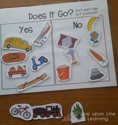 """A nice companion to """"Cars and Trucks and Things that Go""""... sort vehicles from non-vehicles! Free printable 