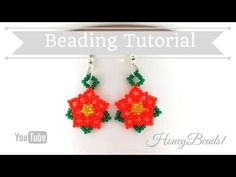 Poinsettia Flower Earrings Beading Tutorial by (Christmas jewelry) Jewelry Making Tutorials, Beading Tutorials, Beading Patterns, Seed Bead Earrings, Flower Earrings, Beaded Earrings, Hoop Earrings, Seed Bead Projects, Poinsettia Flower