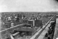 Date: 1910 Description: Aerial view of Port Arthur from the top of the Port Arthur Hotel. The old streetcar banks are visible in the center along with the Waverly/Western Hotel as well as the Continental Hotel on the far right. Accession No. Port Arthur, Aerial View, Thunder, Banks, Paris Skyline, Westerns, Old Things, Top, Travel
