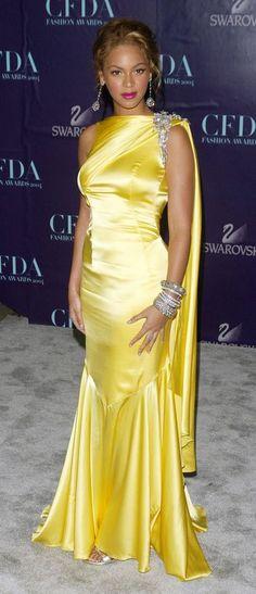 Beyonce | Yellow Dress | http://shinyandsexy.tumblr.com/post/43675274597