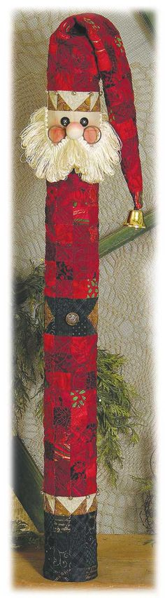 """Pattern name: """"STICK SANTA JINGLE BELL GREETER"""" ~ Lovely Christmas sewing pattern to create a cute Christmas conversation piece! ~ Size: 32"""" ~ ♥"""