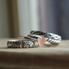 Sterling Silver Stacking Ring Set of 4  Rustic by lovestrucksoul, $84.00