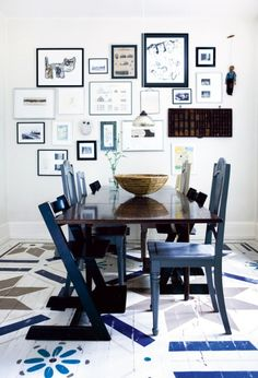 painted floor with mixed chairs
