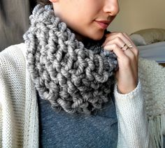 How to Make a 10 Minute Cowl with Arm Tunisian Crochet at The Snugglery.