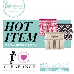 Start the year with organization! Check out these HOT Organizer Caddies in the I [heart] Clearance Sale. Selected prints are ONLY $16 each with FREE Personalization! I'll take 2! Shop your Creative Partner's website or www.initials-inc.com/SHOP in the CLEARANCE CATEGORY. www.myinitials-inc.com/janellstratton