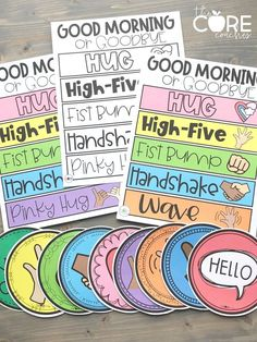 These colorful greeting signs will immediately impact your classroom culture! Post on your classroom door as teacher or a student greeter warmly welcomes clas First Grade Classroom, Classroom Behavior, Classroom Community, Future Classroom, Classroom Teacher, Kindergarten Classroom Organization, Classroom Signs, Preschool Classroom Management, Classroom Ideas