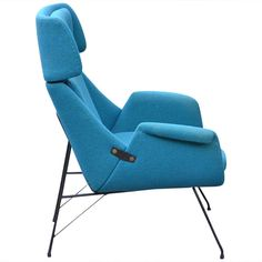 Augusto Bozzi for Saporiti Lounge Chair in lacquered steel and upholstered frame ca.1956