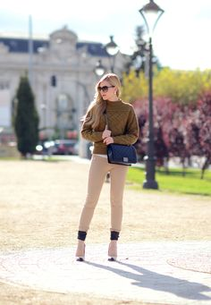 Khaki ---  Asos sweater  |  Zara pants |  Isabel Marant 'Gava' pumps  |  Chanel 'Boy' bag  | Gucci sunglasses  |  Dior earrings  |  Givenchy 'Rose d'Exception' lipstick