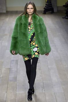 an old fav of Natasha Poly in green furry Emilio Pucci gorgeousness