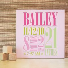 Personalized Nursery Art, Decor for Baby Nursery, Kids and Children Rooms. 10x10 Custom Birth Canvas Wall Art - Green/Pink