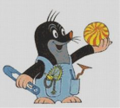krteček Cross Stitch Animals, C2c, Perler Beads, Bedtime, Tweety, Needlework, Diy And Crafts, Disney Characters, Fictional Characters