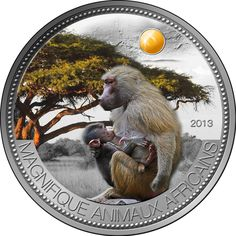 Silver Coins- Niger 2013 1000 Francs Pavian Olive Baboon 1 oz Silver Coin