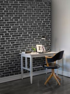Hey,+look+at+this+wallpaper+from+Rebel+Walls,+Brick+Wall,+black!+#rebelwalls+#wallpaper+#wallmurals