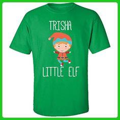 Trisha Little Elf Christmas - Adult Shirt M Irish-green - Holiday and seasonal shirts (*Amazon Partner-Link)