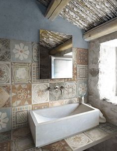 MEMORY MOOD by Panaria, inspired by ancient cement tiles in 6 colors and 9 patterns Decor, Home, Bathroom Inspiration, Bathroom Decor, Tiles, Bathrooms Remodel, Beautiful Bathrooms, House Interior, Bathroom Design
