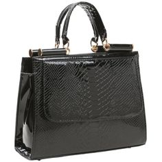 MG Collection EILIS Black High Gloss Crocodile Doctor Style Office Tote Satchel