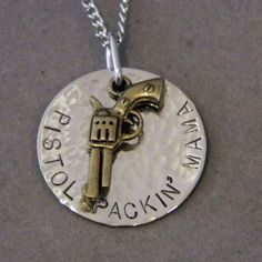 Bronze Pistol Packin Mama Handstamped Necklace by WireNWhimsy, $28.00