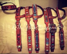 Custom made beaded headstalls. Beaded inlaid.   K bar heart beadwork  Www.facebook.com/kbarheartbeads   Cowboy beadwork. Beaded belt. Beadwork. Loom. Seed beads. Cowboy beads. Beaded tack. Beadwork awesome!
