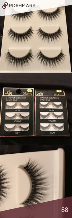 6 pairs of eyelashes-Brand New 2 boxes of eyelashes. 3 pairs per box. Thin band. Long. Brand new in box. Only opened to take pictures. Makeup False Eyelashes