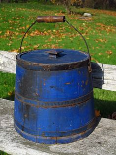 Antique Primitive Wooden Firkin Type Covered Storage Bucket Old Blue Paint
