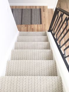 Best Black Grey White Striped Carpet For Stairs And Landing 400 x 300