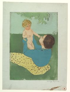 Mary Cassatt - Under the Horse Chestnut Tree (1896-97) Drypoint and aquatint, printed in color from three plates; third state of three